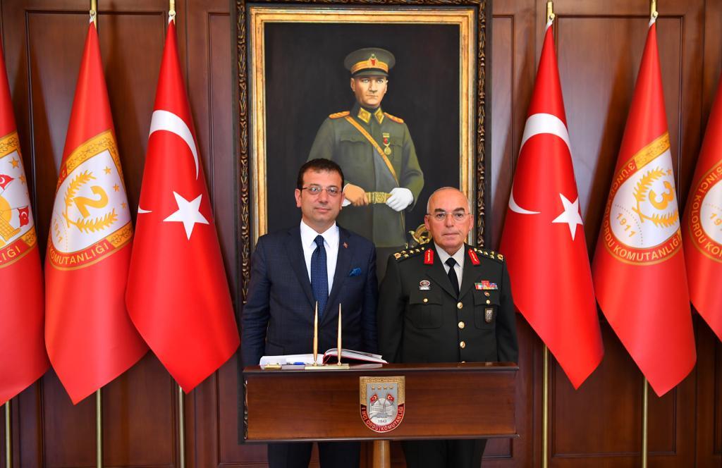 İmamoğlu, ikinci resmi ziyaretini 1. Ordu Komutanı'na yaptı...