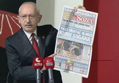 Kılıçdaroğlu, Türkiye'nin halini SÖZCÜ'nün manşetiyle gösterdi...