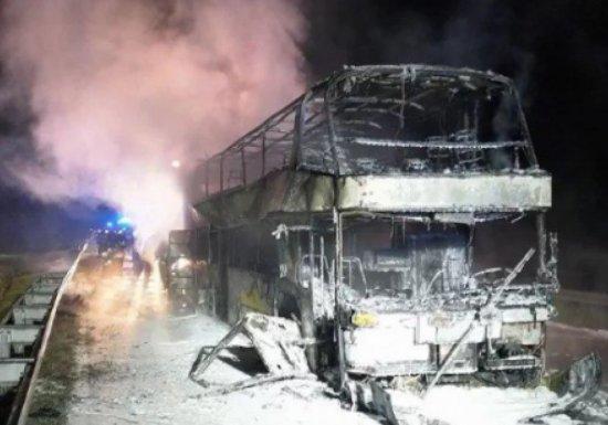 Пассажирский автобус «Киев — Прага» сгорел дотла на трассе в Польше
